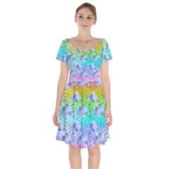 Colorful Iridescent Clouds Short Sleeve Bardot Dress