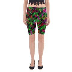 Abstract Glitch Pattern Yoga Cropped Leggings by tarastyle