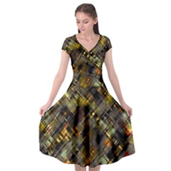 Abstract Glitch Pattern Cap Sleeve Wrap Front Dress