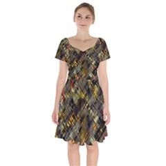 Abstract Glitch Pattern Short Sleeve Bardot Dress by tarastyle