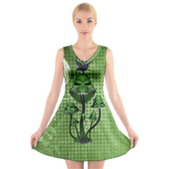Funny Mushroom Skulls With Crow And Butterflies V Neck Sleeveless Dress by FantasyWorld7