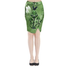 Funny Mushroom Skulls With Crow And Butterflies Midi Wrap Pencil Skirt by FantasyWorld7