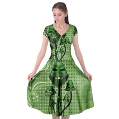 Funny Mushroom Skulls With Crow And Butterflies Cap Sleeve Wrap Front Dress by FantasyWorld7