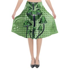 Funny Mushroom Skulls With Crow And Butterflies Flared Midi Skirt by FantasyWorld7