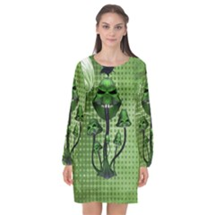 Funny Mushroom Skulls With Crow And Butterflies Long Sleeve Chiffon Shift Dress  by FantasyWorld7