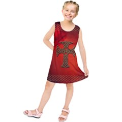 Wonderful Celtic Cross On Vintage Background Kids  Tunic Dress