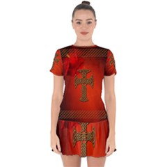 Wonderful Celtic Cross On Vintage Background Drop Hem Mini Chiffon Dress