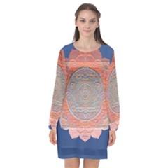 Boho Bliss Peach Metallic Mandala Long Sleeve Chiffon Shift Dress  by beautyskulls