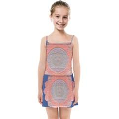 Boho Bliss Peach Metallic Mandala Kids  Summer Sun Dress