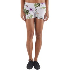 Tropical Flowers Yoga Shorts by goljakoff