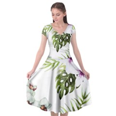 Tropical Flowers Cap Sleeve Wrap Front Dress
