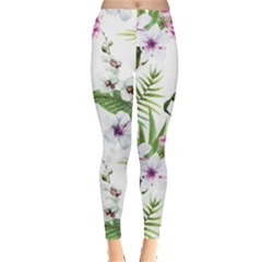 Tropical Flowers Pattern Leggings  by goljakoff