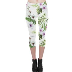 Tropical Flowers Pattern Capri Leggings  by goljakoff