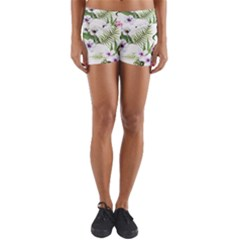 Tropical Flowers Pattern Yoga Shorts by goljakoff