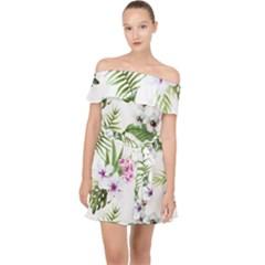 Tropical Flowers Pattern Off Shoulder Chiffon Dress by goljakoff