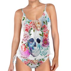 Watercolor Flowers And Skull Tankini Set by goljakoff