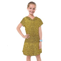 Gold Sparkles Kids  Drop Waist Dress by retrotoomoderndesigns