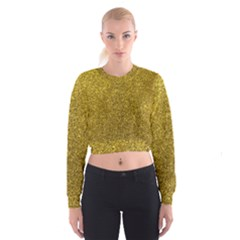 Gold Sparkles Cropped Sweatshirt by retrotoomoderndesigns