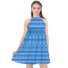 Stunning Luminous Blue Micropattern Magic Halter Neckline Chiffon Dress  by beautyskulls