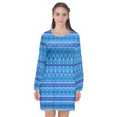 Stunning Luminous Blue Micropattern Magic Long Sleeve Chiffon Shift Dress