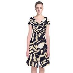 Luxury Animal Print Short Sleeve Front Wrap Dress