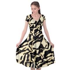 Luxury Animal Print Cap Sleeve Wrap Front Dress