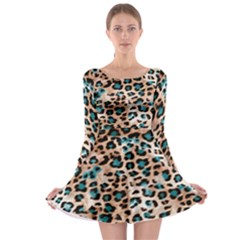 Luxury Animal Print Long Sleeve Skater Dress by tarastyle