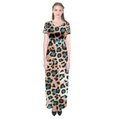 Luxury Animal Print Short Sleeve Maxi Dress by tarastyle