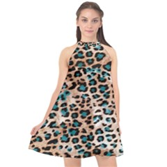 Luxury Animal Print Halter Neckline Chiffon Dress