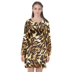 Luxury Animal Print Long Sleeve Chiffon Shift Dress  by tarastyle