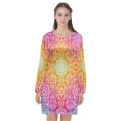 Colorful Mandala Long Sleeve Chiffon Shift Dress  by tarastyle