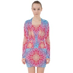 Colorful Mandala V Neck Bodycon Long Sleeve Dress by tarastyle