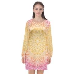 Colorful Mandala Long Sleeve Chiffon Shift Dress