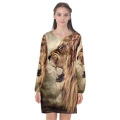 Roaring Lion Long Sleeve Chiffon Shift Dress