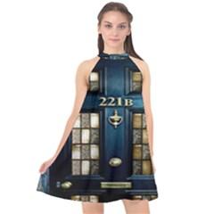 Tardis Sherlock Holmes 221b Halter Neckline Chiffon Dress