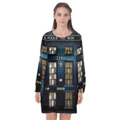Tardis Sherlock Holmes 221b Long Sleeve Chiffon Shift Dress  by Sudhe