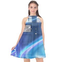 Tardis Space Halter Neckline Chiffon Dress  by Sudhe