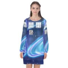 Tardis Space Long Sleeve Chiffon Shift Dress