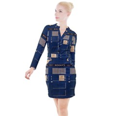 Tardis Poster Button Long Sleeve Dress by Sudhe