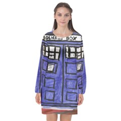 Tardis Painting Long Sleeve Chiffon Shift Dress
