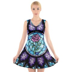 Cathedral Rosette Stained Glass Beauty And The Beast V Neck Sleeveless Dress