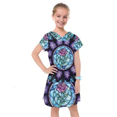 Cathedral Rosette Stained Glass Beauty And The Beast Kids  Drop Waist Dress by Sudhe