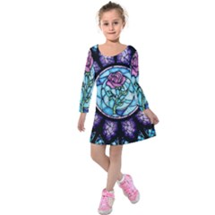 Cathedral Rosette Stained Glass Beauty And The Beast Kids  Long Sleeve Velvet Dress by Sudhe