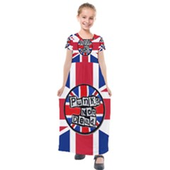 Punk Not Dead Music Rock Uk United Kingdom Flag Kids  Short Sleeve Maxi Dress by Sudhe
