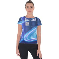 Tardis Space Short Sleeve Sports Top  by Sudhe