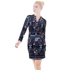 Book Quote Collage Button Long Sleeve Dress by Sudhe