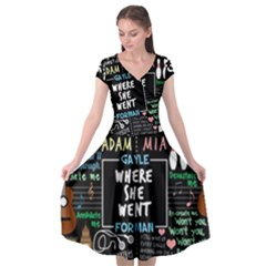 Book Quote Collage Cap Sleeve Wrap Front Dress