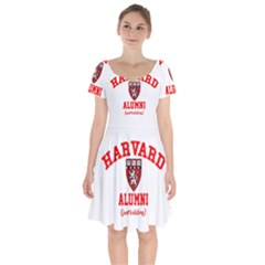 Harvard Alumni Just Kidding Short Sleeve Bardot Dress by Sudhe