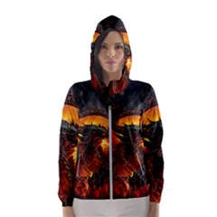 Dragon Legend Art Fire Digital Fantasy Hooded Windbreaker (women) by Sudhe