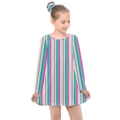 Candy Stripes 1 Kids  Long Sleeve Dress by retrotoomoderndesigns